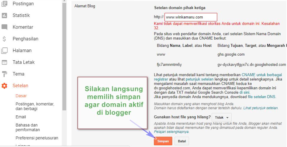 """Salam teman. Postingan ini melanjutkan tulisan saya sebelumnya mengenai cara mendapatkan domain .com murah 10 ribuan saja yang saya dapatkan di salah satu layanan web hosting indonesia. Exabytes.    Di postingan ini saya ingin membagikan cara mengganti domain blogspot.com dengan domain sendiri.    Namun sebelum lanjut pada pembahasan inti, saya ingin mengingatkan untuk bisa mengikuti tutorial ini teman-teman blogger sudah harus memastikan bahwa teman-teman sudah memiliki domain sendiri. (Bisa: .COM, .NET, .ID, .ORG, dll) yang dibeli di exabytes.    Sebagai sebuah informasi! Saya telah sukses membeli domain .COM murah di exabytes. Domain yang beralamatkan """"winkamaru.com"""" tersebut akan saya gunakan untuk mengganti domain blogspot """"winkamaru.blogspot.com""""    Jadi pastikan kalian sudah membeli domain .COM, di exabytes melalui tautan berikut: billing.exabytes.co.id      Gambar di atas adalah alamat blog ini, sebelum diganti dari blogspot menjadi domain saya sendiri di """"winkamaru.com""""   Okay kita langsung saja ke Cara Mengganti Blogspot Menjadi Domain .COM Milik Sendiri    #1. Pertama  Pastikan anda sudah membeli domain di exabytes dan status domain yang dibeli telah aktif.    Untuk mengetahui status domain yang dibeli di exabytes sudah aktif atau belum, silakan login ke billing.exabytes.co.id lalu pilih """"Domains + Domain Saya""""        Lihat kembali dan pastikan DOMAIN anda sudah diaktifkan, jika belum aktif silakan lakukan pembayaran order domain anda dan lakukan konfirmasi ke pihak exabytes melalui email atau live chat. Sehingga domain bisa digunakan!        #2. Kedua  Langkah selanjutkan silakan buka dashbord blogger milik anda di: draft.blogger.com    Silakan pilih menu """"Setelah + Dasar"""" lalu pilih """"Siapkan URL Pihak ke-3 Untuk Blog"""" pada kolom alamat blog. Lihat Gambar!        #.3 Ketiga  Pada tahap berikutnya! Silakan langsung memasukan nama domain yang sudah anda beli!    Pada tutorial ini saya menggunakan domain saya sendiri """"winkamaru.com"""" yang telah saya beli den"""