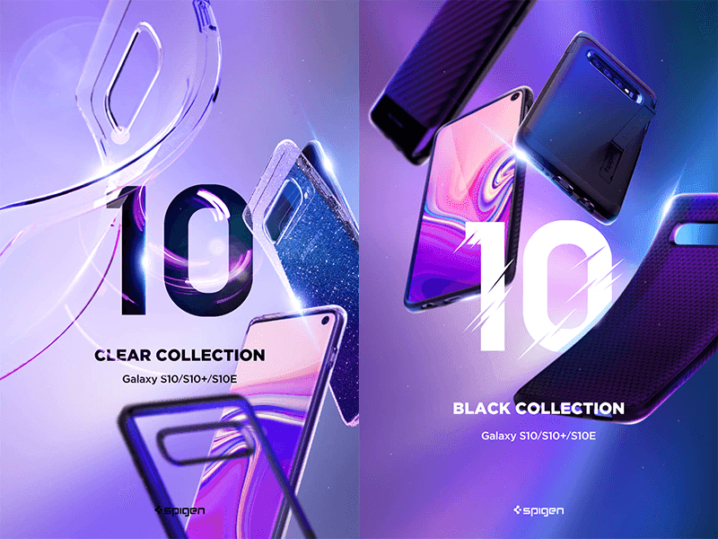 Spigen's Clear and Black collection cases for the Samsung Galaxy S10