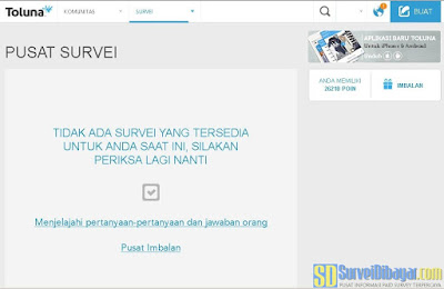 Menu survey pada dasbor akun paid survey Toluna Indonesia | SurveiDibayar.com