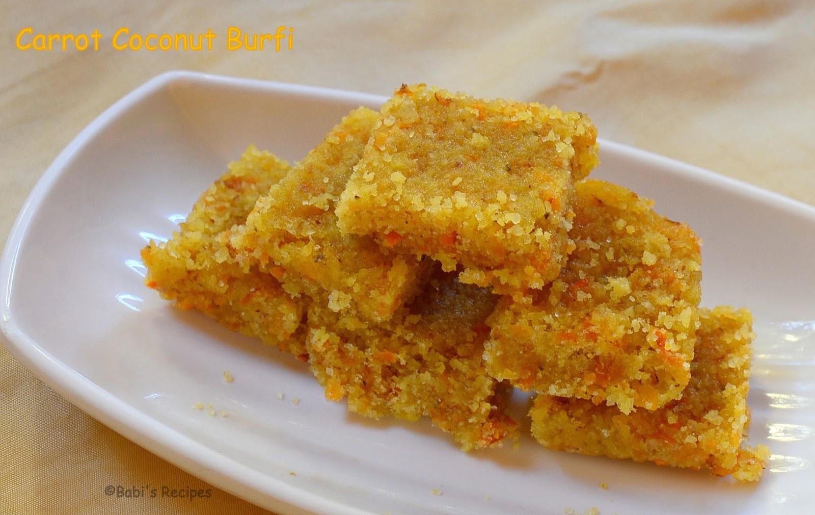 Babi s recipes carrot coconut burfi easy indian sweet recipe carrot coconut burfi easy indian sweet recipe video recipe forumfinder Images