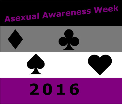 "A horizontally striped background.  Colors are, from top to bottom, Black, grey, white, and purple.  Purple text over the black strip reads, ""Asexual Awareness Week.""  Black text over the bottom purple stripe reads, ""2016.""  The center two stripes have the four suit shapes from a deck of cards in black.  From the left, diamond, spade, club, and heart."