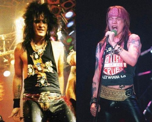 Axl Rose with Motley Crue tee and Nikki Sixx with a Guns n Roses tee