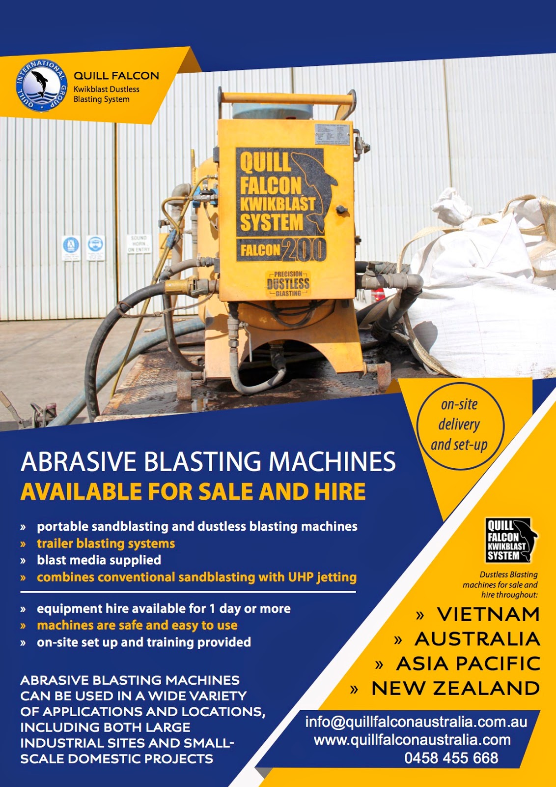 Sandblasting equipment for sale and hire