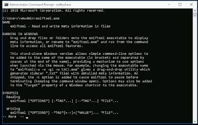 информацие про exiftool в коммандной строке windows