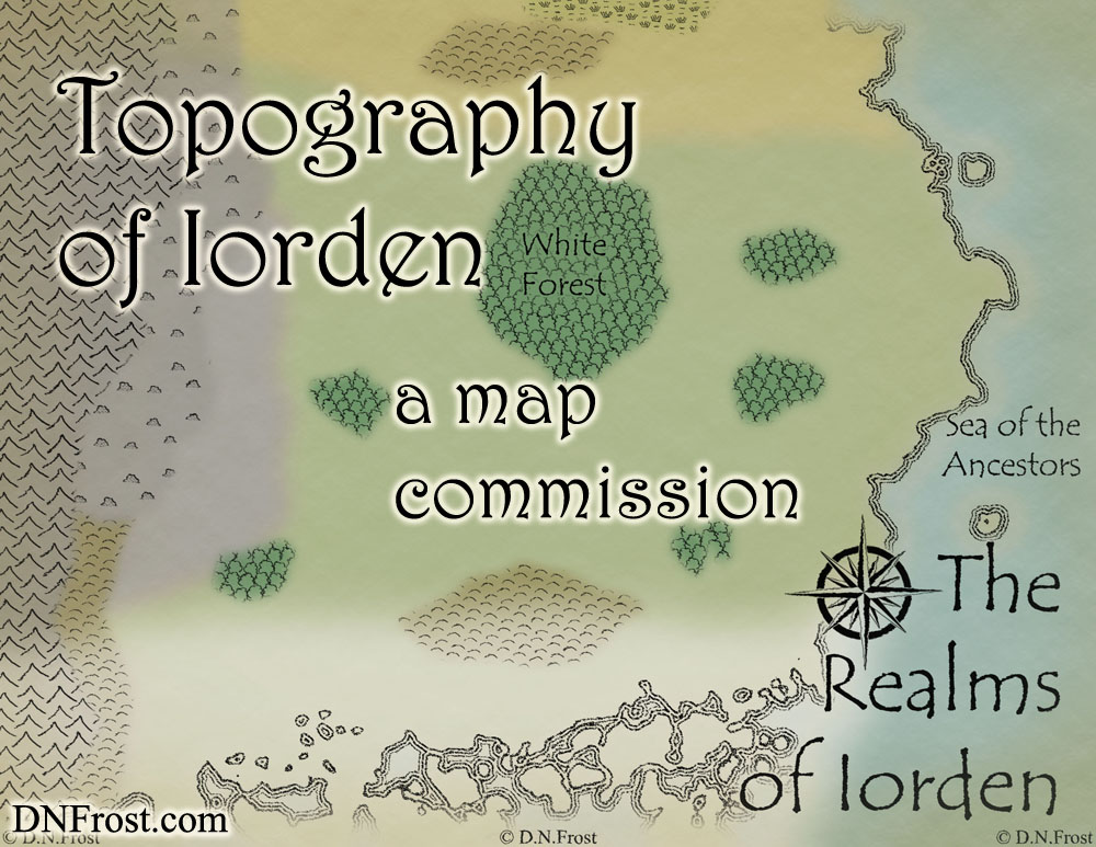 Topography of Iorden, a map commission by D.N.Frost for The Once and Future Nerd http://www.dnfrost.com/2016/08/topography-of-iorden-map-commission.html Part 2 of a series.