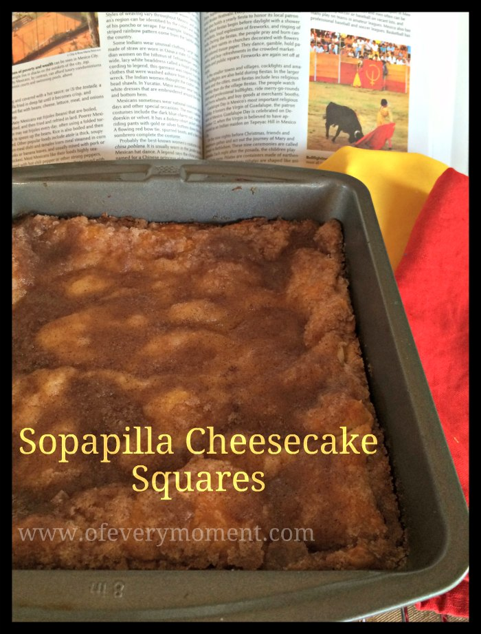 sopapilla cheesecake squares with an article about Mexico.