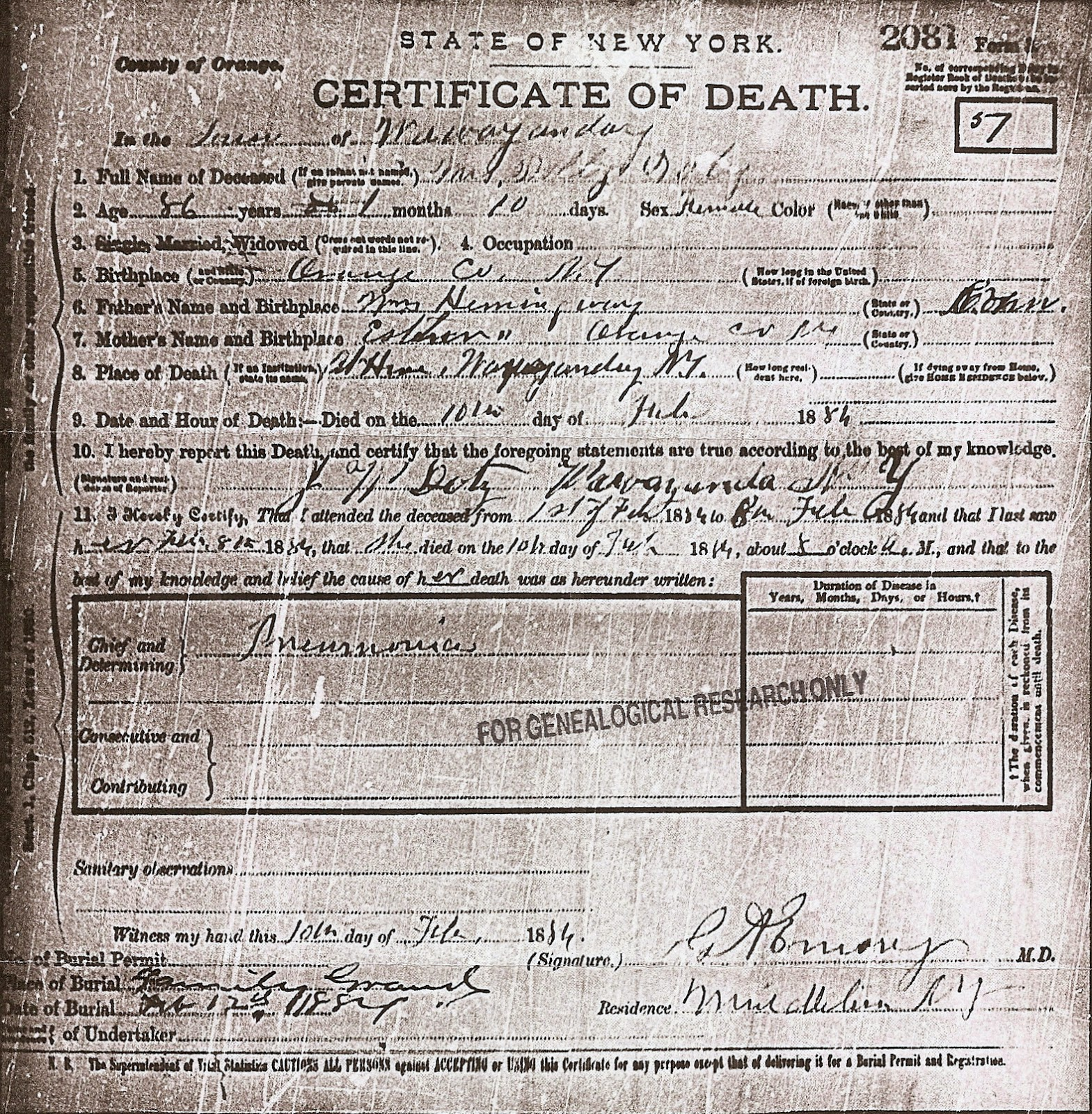 Dolly Doty's Certificate of Death issued by the State of New York