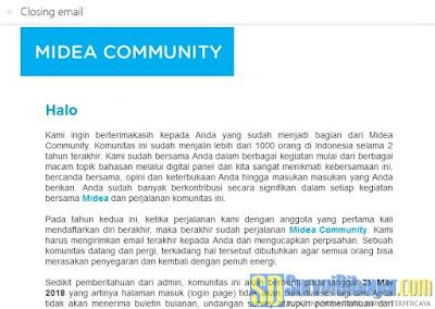 Email pemberitahuan tentang penutupan Midea Community | SurveiDibayar.com