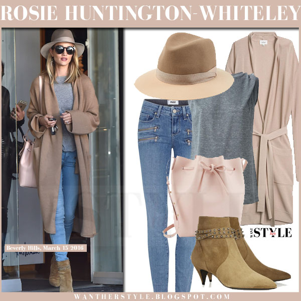 Rosie Huntington-Whiteley in beige long cardigan, skinny jeans with pink mansur gavriel bucket bag what she wore model style