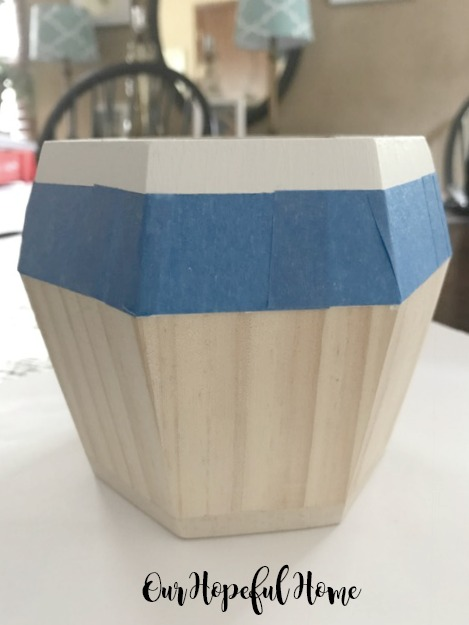 hexagonal unpainted wooden vase succulent container
