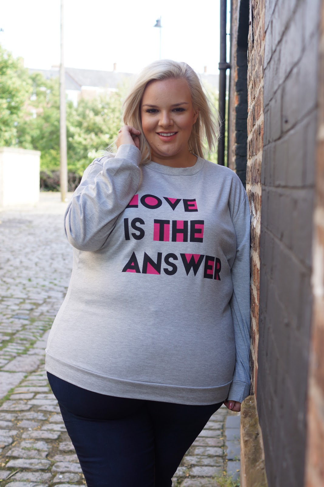 Love Is The Answer Slogan Plus Size Jumper from Yours Clothing