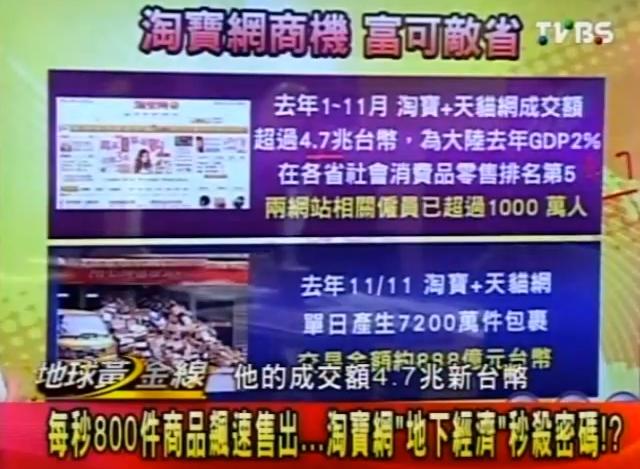 淘樂 | 大陸網路行銷 網拍倉儲: 淘寶網天貓開店 大陸網購驚人商機 TVBS地球黃金線 2013-01-28