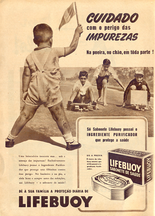 Propaganda dos anos 50 do sabonete Lifebuoy que prometia combater as impurezas