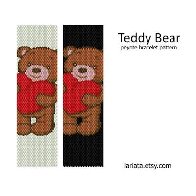 cute teddy bear peyote stitch pattern