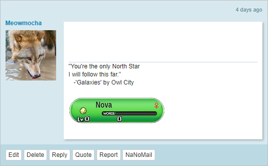 NaNo signature- 'You're the only North Star I will follow this far.' -Owl City. Below, NaNoWriMon named Nova