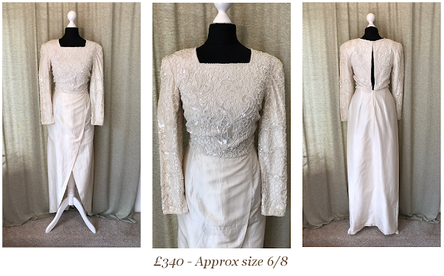 gatsby art deco 1920's style heavily beaded tulip wrap skirt vintage wedding dress available at vintage lane bridal boutique in bolton , manchester, lancashire
