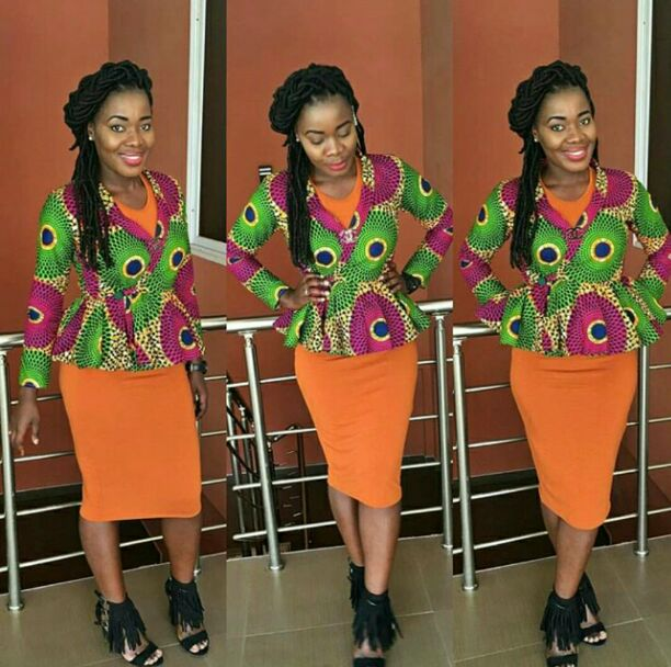 green peplum ankara top with orange gown