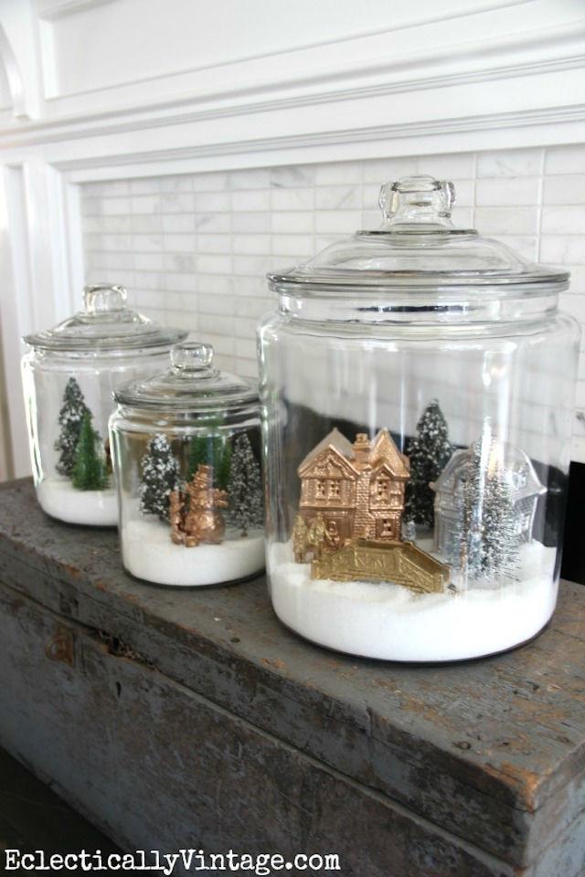 bolas de nieve DIY dentro de una jarra con tapa