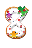Number eight graphic, decorated with icing and gingerbread men
