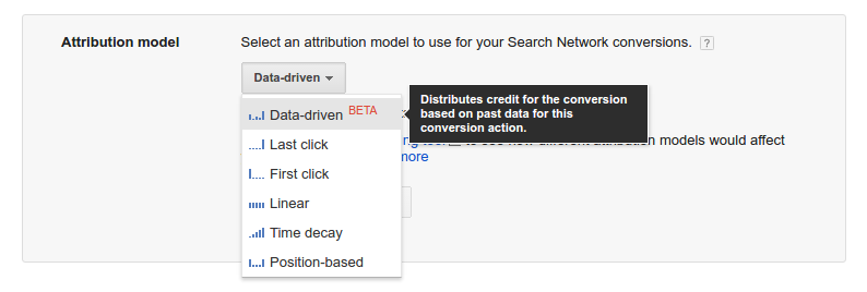 Attribution Model Dropdown - AdWords