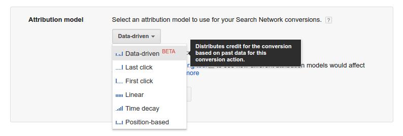 Attribution Model Dropdown - AdWords