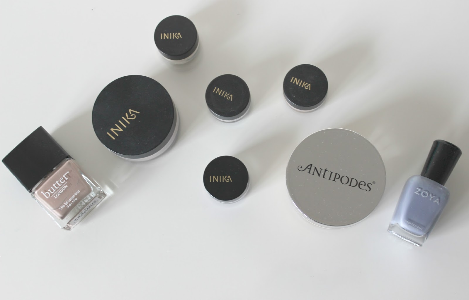 A picture of Inika, Antipodes, Butter London and Zoya organic makeup products