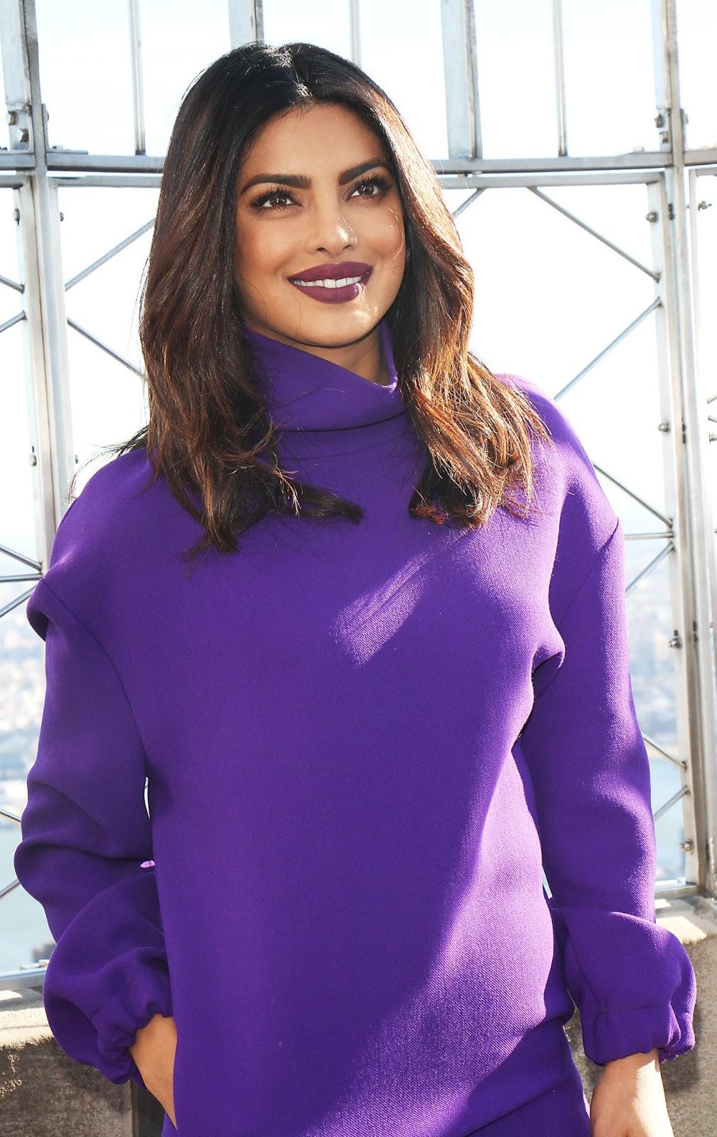 Priyanka Chopra Looks Sexy In a Purple Short Dress and ...