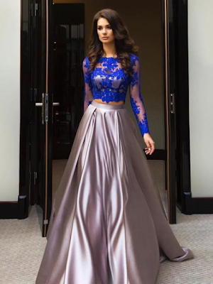 Ball Gown Scalloped Neck Tulle Elastic Woven Satin Appliques Lace Sweep Train Long Sleeve Two Piece Modest Prom Dresses