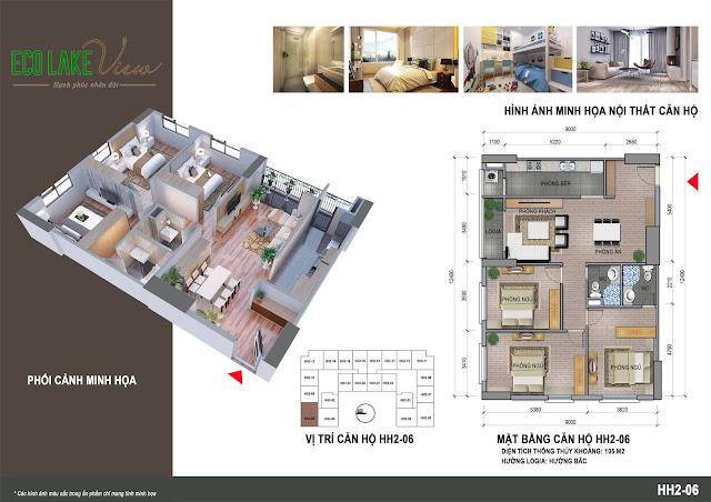 Thiết kế căn hộ 06 tòa HH-02 Eco Lake View