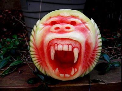 halloween monster watermelon fruit arts