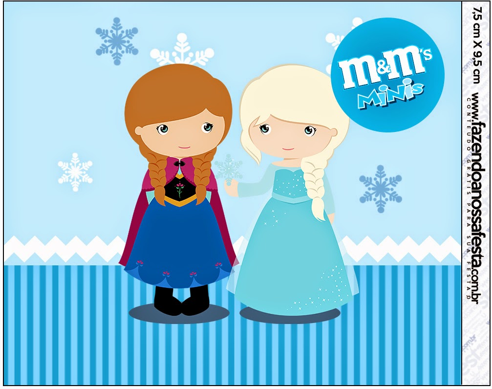 Etiqueta M&M  para Imprimir Gratis de Frozen Niñas para Navidad Azul.