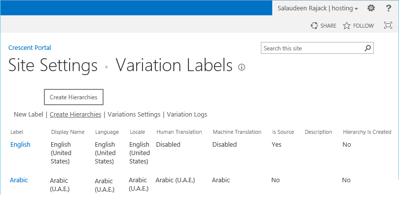 create variation hierarchy sharepoint 2013