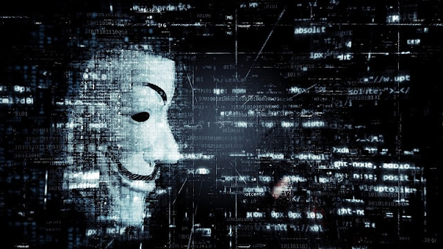 ilustrasi hacker anonymous dalam dunia digital