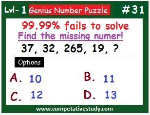 Number Puzzle: Find the missing number: 37, 32, 265, 19, ?