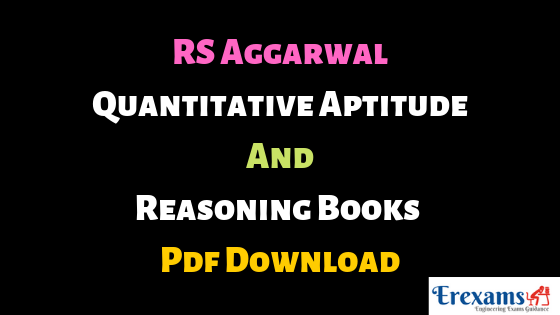 RS Aggarwal Quantitative Aptitude and Reasoning Books Pdf