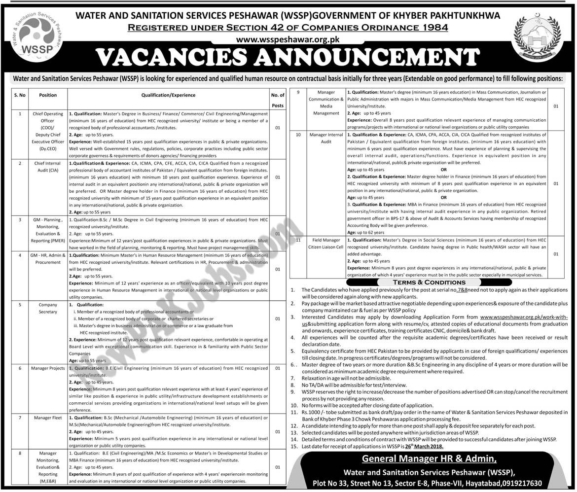 Water and Sanitation Services Peshawar Latest Jobs 2018