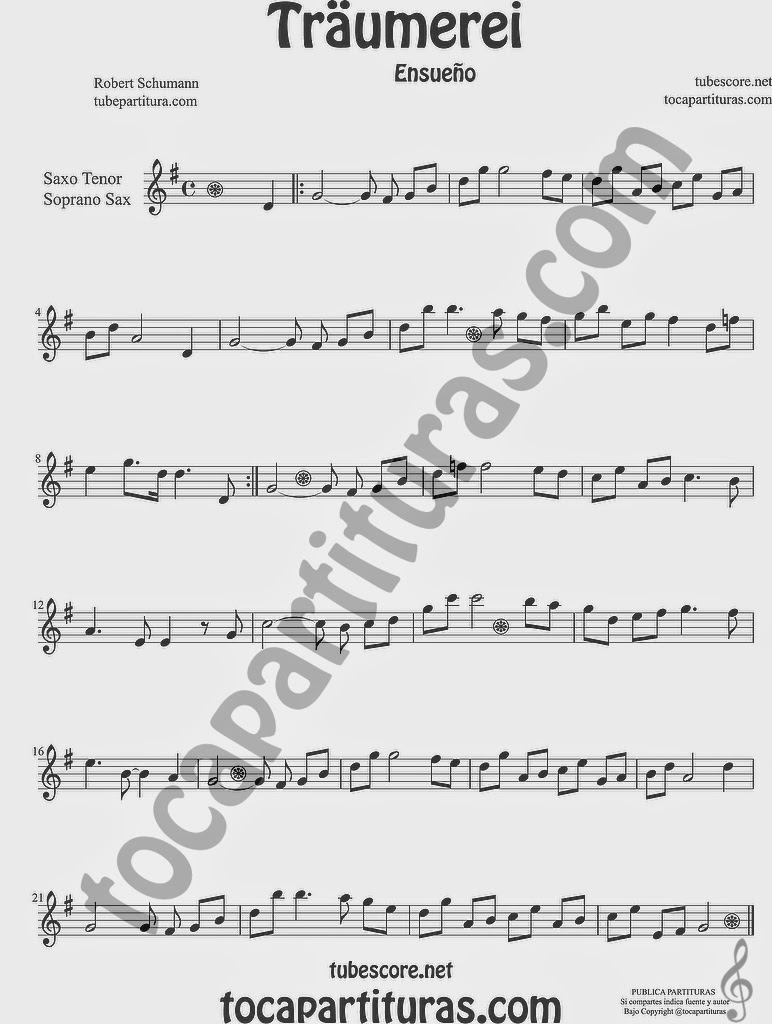 Traumerei Partitura de Saxofón Soprano y Saxo Tenor Sheet Music for Soprano Sax and Tenor Saxophone Music Scores by Robert Schumann