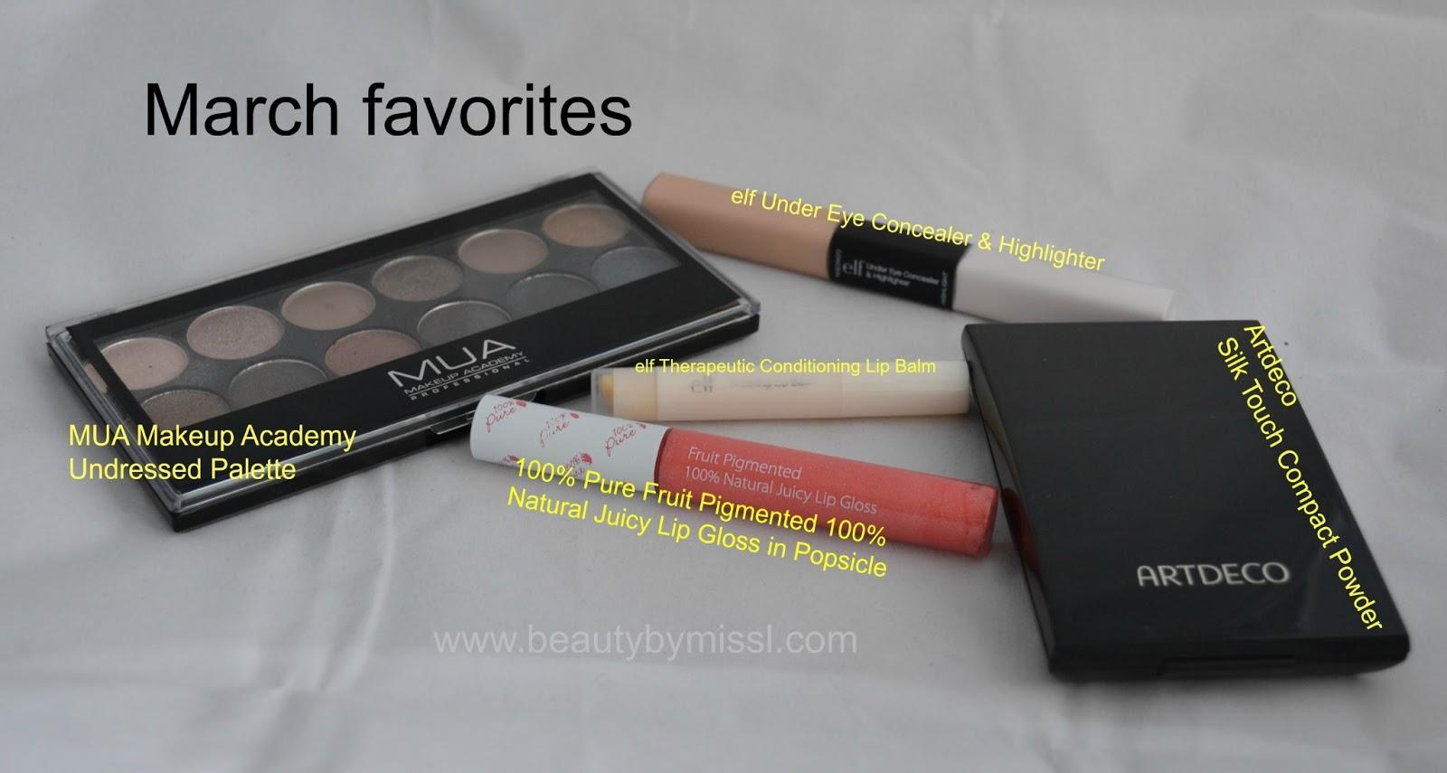 mua undressed palette, 100% pure lipgloss, artdeco powder,