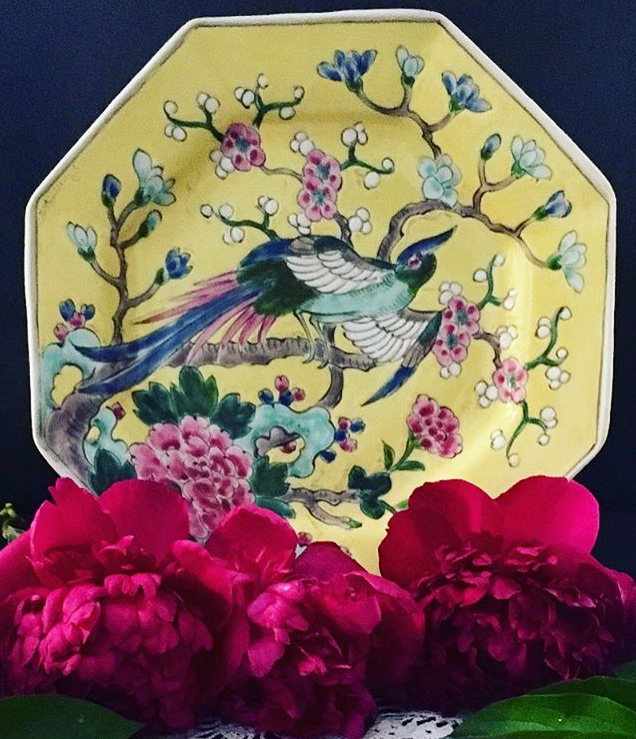 #collectandstyle, Instagram #collectandstyle, @cottagebythec Nippon decorative plate, vintage Japanese plate, vintage Nippon plate, vintage Japanese, vintage bird plate