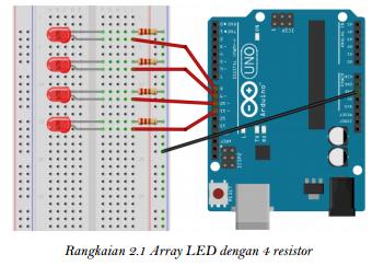 Rangkaian Array LED dengan 4 resistor