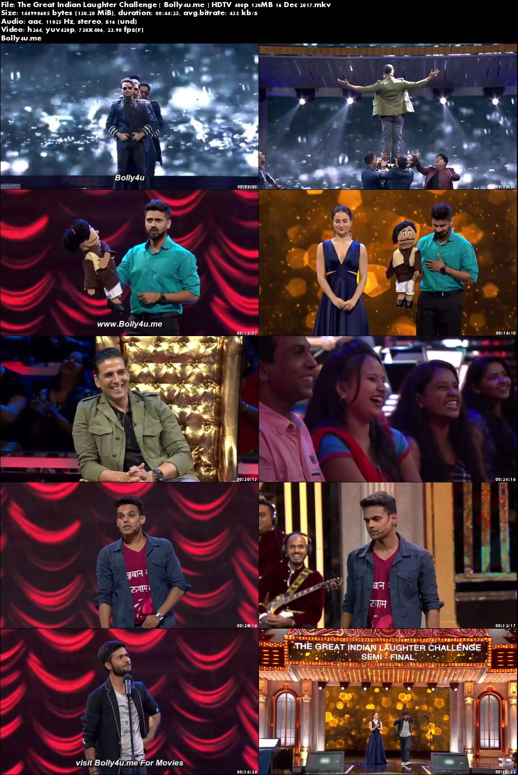 The Great Indian Laughter Challenge HDTV 480p 140MB 16 Dec 2017 Download