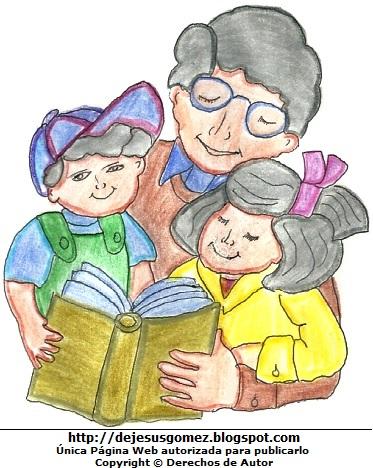 Imagen de un padre leyendo con sus hijos por Jesus Gómez