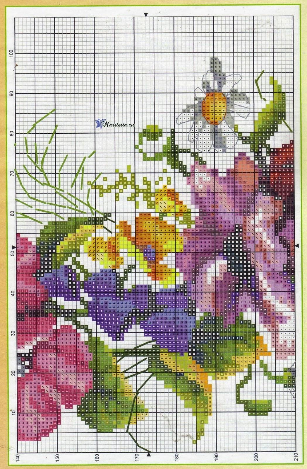 Летний букет цветов с птичкой. Схемы вышивки (5)