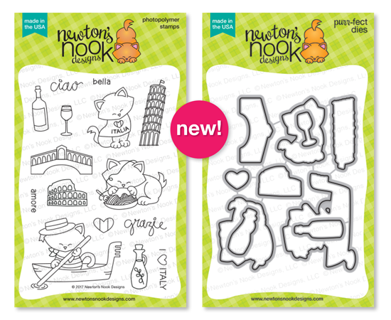 Newton Dreams of Italy | Italy and Cat stamp set by Newton's Nook Designs #newtonsnook