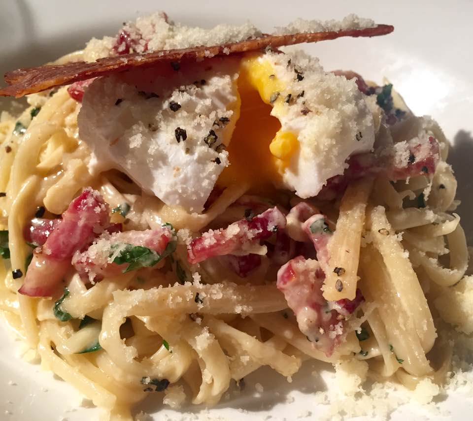 Pizza Making at Babucho Newcastle | Children's Menu & Lunch Review - Rapido Menu - Pasta carbonara with poached egg