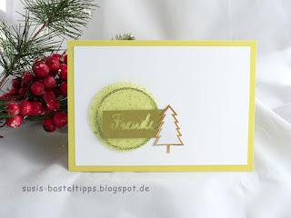 Weihnachtskarte mit Glitzertüll: Ideen für Resteverwertung für Schmuckrosetten aus dem Stampin' Up! Set Weihnachtsfreude Minikatalog 2017 von unabhängiger Demonstratorin in Coburg (Susis Basteltipps)