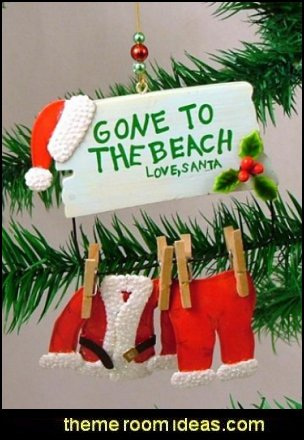 santa claus gone to the beach christmas ornament coastal christmas decorating theme coastal christmas decor