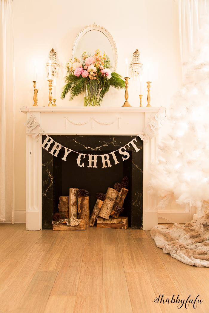 merry christmas garland silver glitter