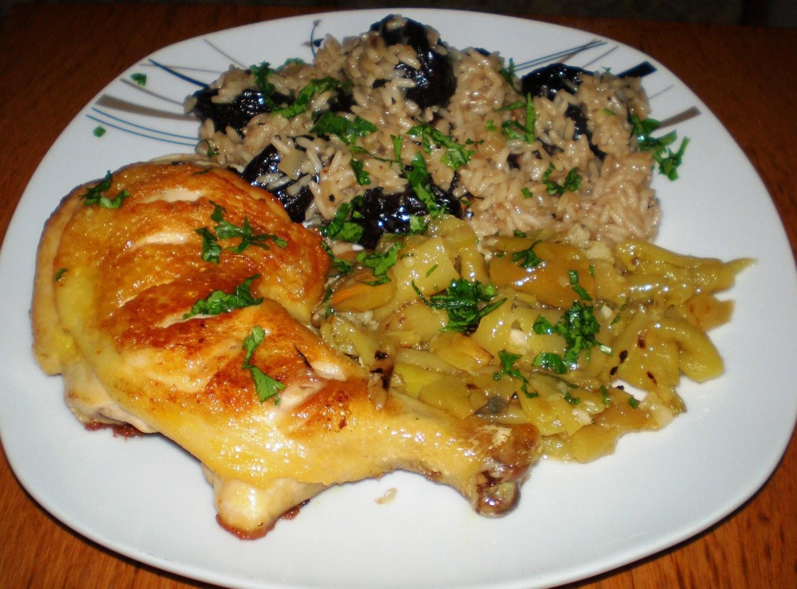 Pulpe de pui și orez cu prune