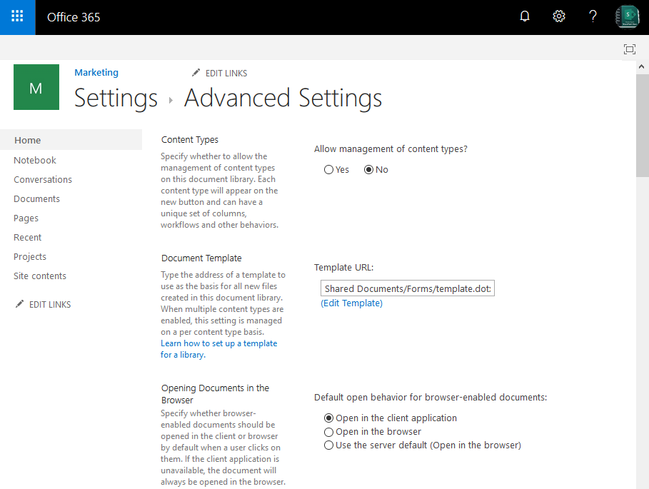 sharepoint online open documents in client applications by default